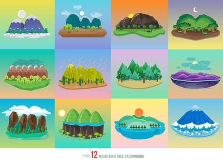 Vector Set background mountain and tree Illustration