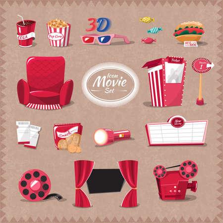 movie reel: Vector cinema element style cartoon flat design