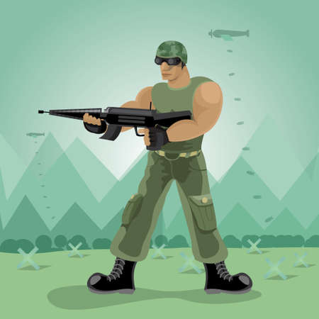 army men: Vector soldier in mountain and bomb