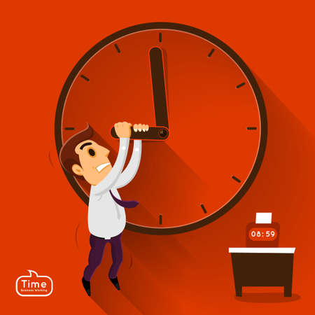 Busnessman push time in working in vector  Stock Vector - 21619170
