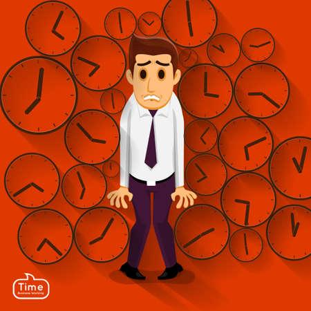 administraci�n del tiempo: Hombre de negocios en una presi�n de tiempo para la fecha l�mite en el trabajo