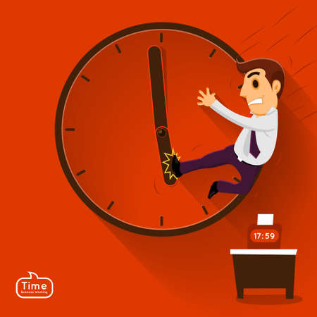 salaryman: Busnessman push time in working in vector