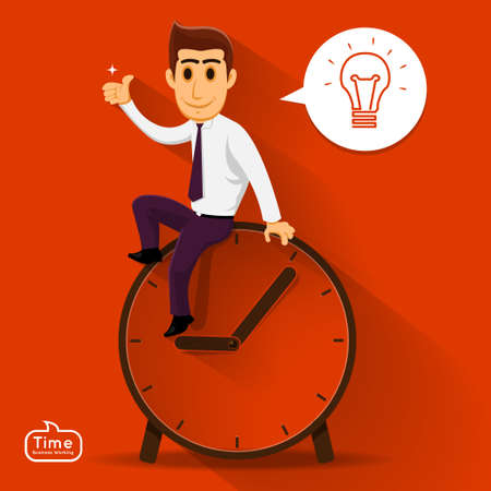 Businessman can think about good idea over time  relax Illustration