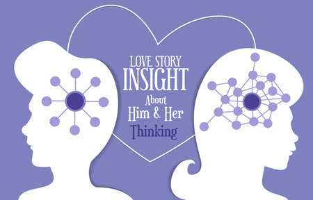Love story insight about men and women thinking between them Vector