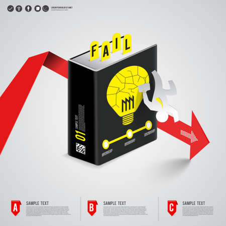 The way of fail business in a big book concept show arrow and business man down   Vector