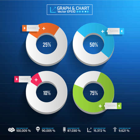 infographic arrow diagram graph chart on the blue blackground with flat design and long shadow. can be use element for layout design , website printing , annual report   Vector