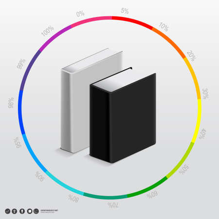 Book blank vector Black and white slim and bold size on the circle colorful chart.   Vector