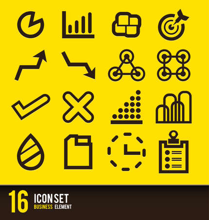 brow: Icon set vector business brow and yellow
