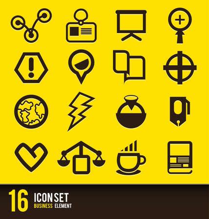 brow: Set di icone vettore di fronte affari e giallo