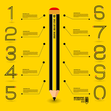 Infographics concept by number shape pencil idea about a time