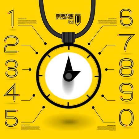 Infographics concept by number shape clock idea about a time