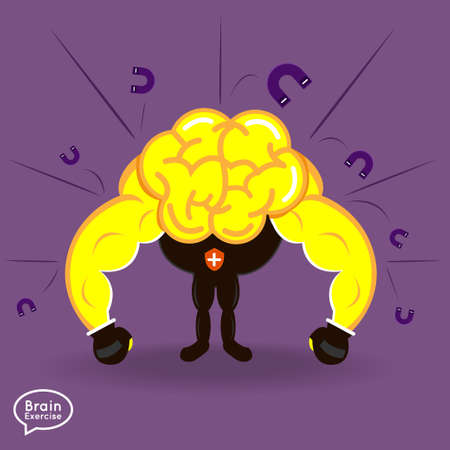 Brain charactor vector design fitness for smart brain with positive thinking security nagative thinking Vector