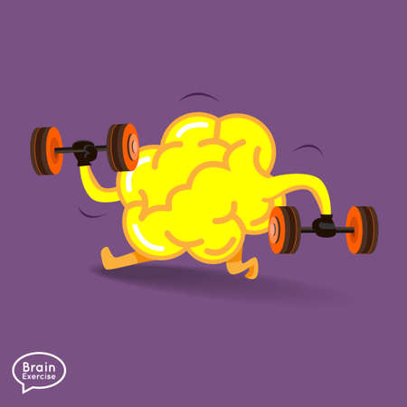 charactor: Brain charactor vector design fitness for smart brain with dumbbell
