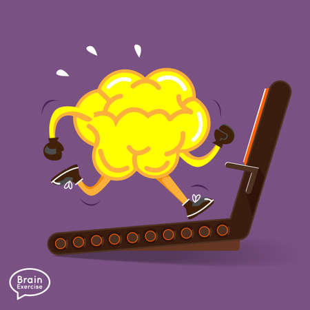 Brain charactor vector design fitness for smart brain with dumbbell   Vector