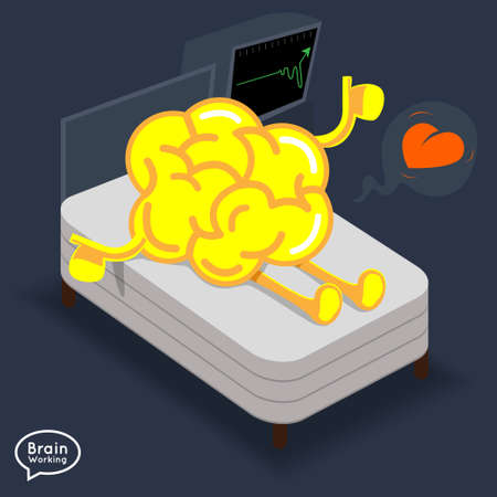 alive: Brain awake on the bed alive and happy  Illustration