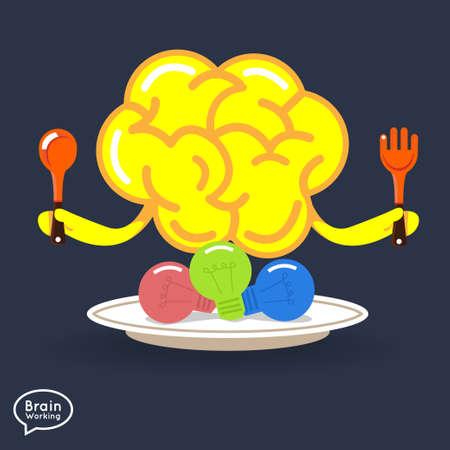 energysaving: Brain vector eating ideaLight bulb for  creative idea
