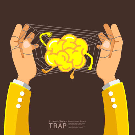 Business success solution illustrate graphic vector by hand trap brain Vector
