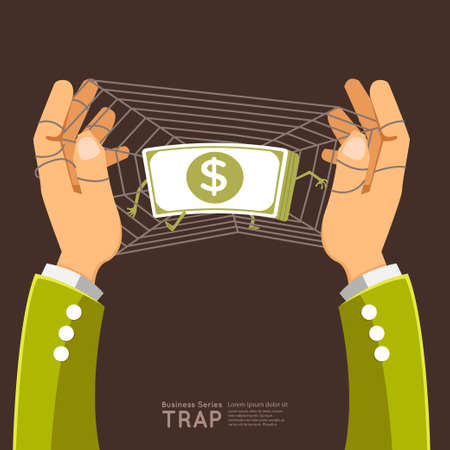 Business success solution illustrate graphic vector by hand trap money