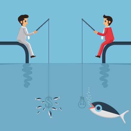 Business man fishing by money and idea result a biggest Illustration