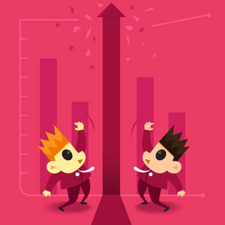 broken unity: Business illustration cartoon display businessman in a happy a graph chat diagram to way success  Illustration
