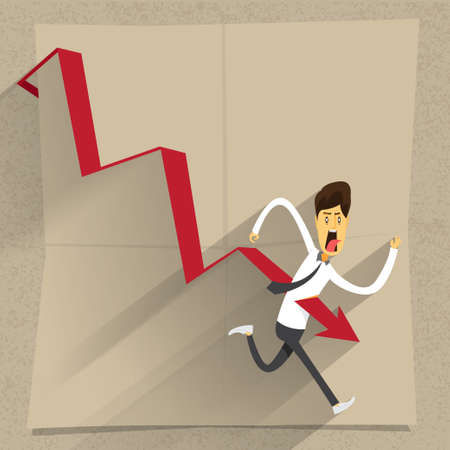 llustration of cartoon office worker down and die by chart Vector
