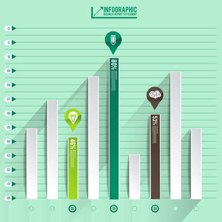 infographic arrow diagram graph chart on the green pastel blackground with flat design and long shadow  can be use element for layout design , website printing , annual report Vector