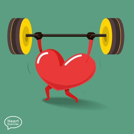 cardio workout: Heart charactor vector design fitness for smart heart with running,dumbbell,boxing