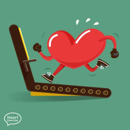 corazon: Charactor corazón vector de fitness de diseño para el corazón inteligente con correr, pesas, boxeo