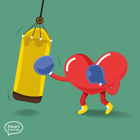 charactor: Heart charactor vector design fitness for smart heart with running,dumbbell,boxing