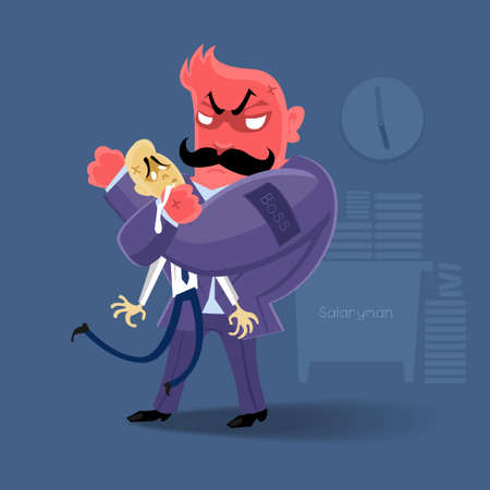 angry Boss  action to salaryman in working business time Vector