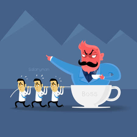 angry boss: angry Boss  action to salaryman in working business time Illustration