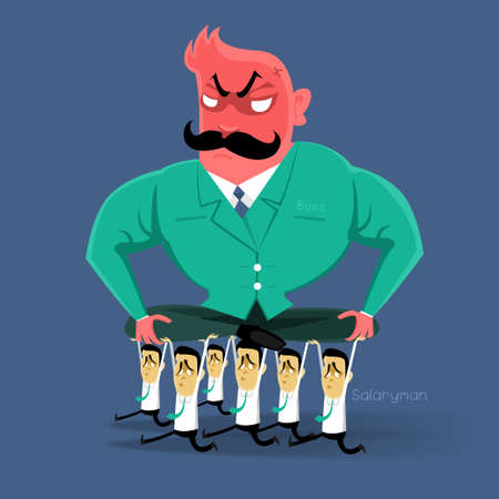 angry Boss  action to salaryman in working business time Иллюстрация