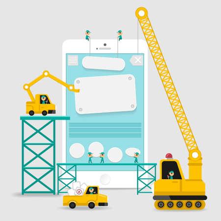 affichage style infographique de développement de la construction d'applications avec enginerring à l'interface utilisateur