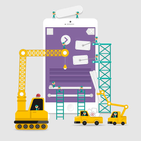 Application display building development infographic style with enginerring to user interface Illustration