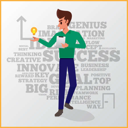 self development: Businessman vector action of light bulb and tablet the way to success