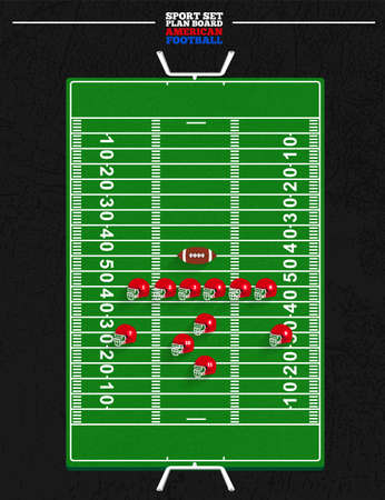 american football helmet: American football board field with ball and helmet for planning