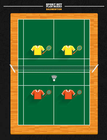 badminton: Badminton and court vector and player position Illustration