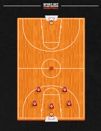 hardwood flooring: Баскетбол доска векторное поле и позиция игрока