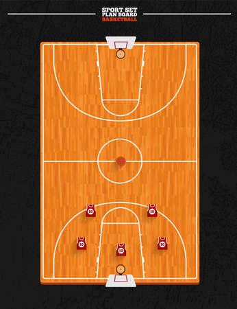 バスケット ボール ボード分野ベクトルと位置プレーヤー