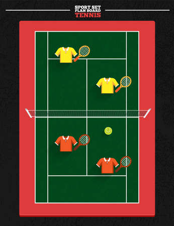 tenis: tennis court vector and player position racket