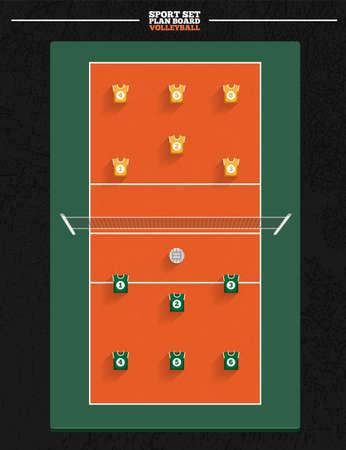 volleyball serve: Cancha de voleibol con la posici�n del jugador de la estrategia de planificaci�n