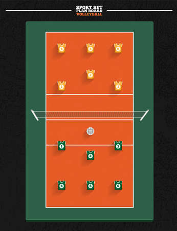 volleyball net: Volleyball Court with player position for planning strategy Illustration