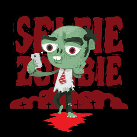 ghoulish: Zombie salaryman acting selfie by smartphone