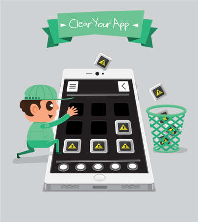 shoppping: Technician smartphone service to your application   Delete Your App Illustration