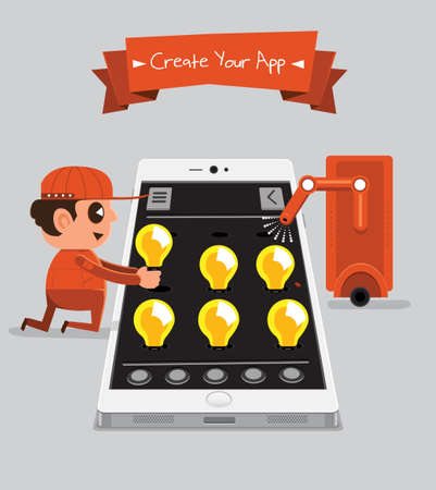 Technician smartphone service to your application   Creative Your App Vector