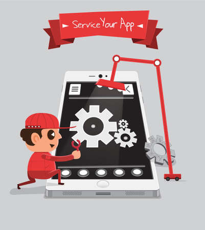 Technician smartphone service to your application   Service Your App Illustration