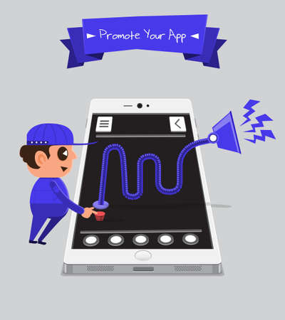 Technician smartphone service to your application   Promote Your App Vector