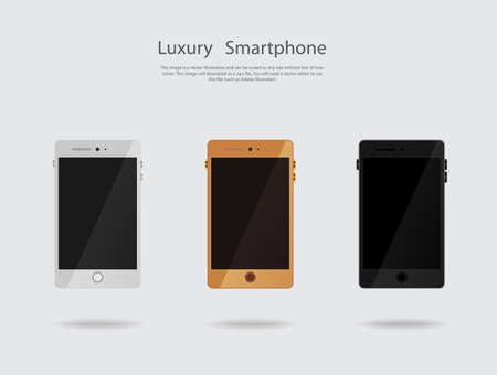 metalic: Smartphone set vector 3 color gold, white and black metalic