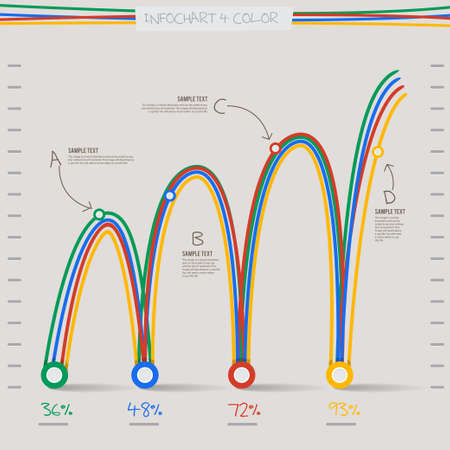 onward: infographic arrow diagram graph chart in 4 color and line spiral  for layout design template
