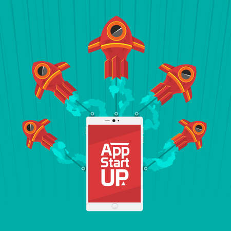 App start up with speed logistic to success of innovation by racing Vector